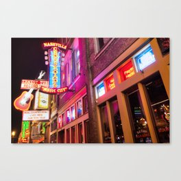 Lower Broadway Nashville Neon Lights in Color Canvas Print