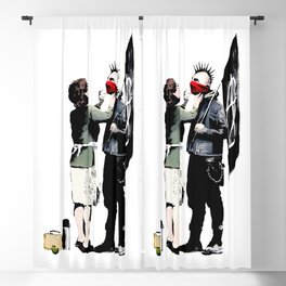 Banksy, Anarchist Punk And His Mother Artwork, Posters, Prints, Bags, Tshirts, Men, Women, Kids Blackout Curtain