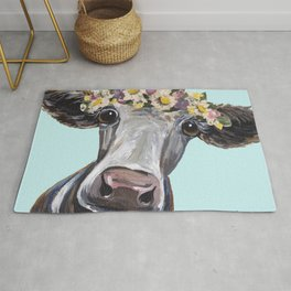 Cow Art Print, Flower Crown Cow Art Rug