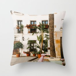 Colorful scooter in front of houses in the centre of old Malaga   Travel photography   Spain vacation art Throw Pillow