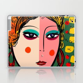 Green Portrait French Girl Art Laptop & iPad Skin