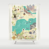 princess bride Shower Curtains featuring Princess Bride Discovery Map by Wattle&Daub