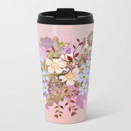 Sweet pastel pink flowers Metal Travel Mug
