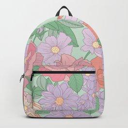 Summer Garden Floral Print Backpack