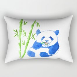 Panda eating bamboo Watercolor Print Rectangular Pillow