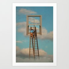 Window cleaner in the sky Art Print