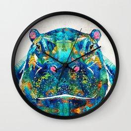 Hippopotamus Art - Happy Hippo - By Sharon Cummings Wall Clock