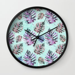 Modern hand painted pink purple watercolor monster leaves Wall Clock