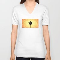 palm tree V-neck T-shirts featuring Palm Tree by Derek Fleener