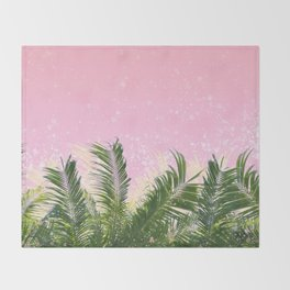 Palm leaves in the wind ( coral pink ) Throw Blanket