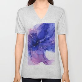 Ethereal Flower Abstract Ink Unisex V-Neck