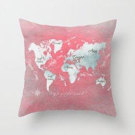 world map 143 red white #worldmap #map Throw Pillow