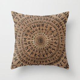 Elder Futhark Circular Composition Throw Pillow