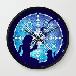 Vitral Snow Flakess Wall Clock