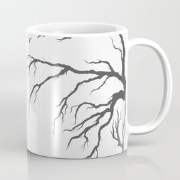 dried tree branches with birds and leaves on a light background Coffee Mug