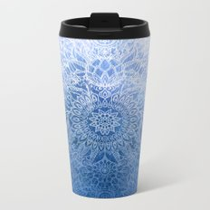 Enchanted Indigo - watercolor + doodle Metal Travel Mug