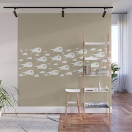 Fish Stripe Minimalist Mid Century Modern Ocean Pattern in White and Neutral Flax Wall Mural