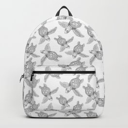 The turtles ink are swimming in white sea by Jana Sigüenza Backpack