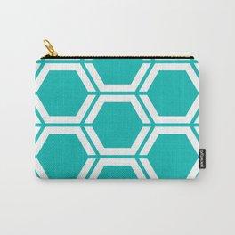 Tiffany Blue - blue - Geometric Polygon Pattern Carry-All Pouch