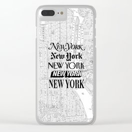 New York City black and white New York poster I love heart NYC Design black-white home wall decor Clear iPhone Case