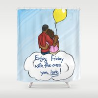 friday Shower Curtains featuring FRIDAY by RM2 Designs