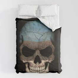 Dark Skull with Flag of Estonia Comforters