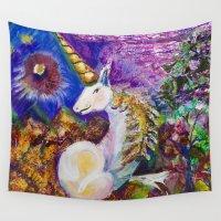 unicorn Wall Tapestries featuring Unicorn by CrismanArt