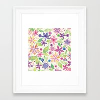 leah flores Framed Art Prints featuring Flores by JuanaViEs