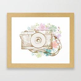 Camera retro flower Framed Art Print
