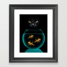 Black Cat Goldfish Framed Art Print