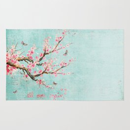 Its All Over Again - Romantic Spring Cherry Blossom Butterfly Illustration on Teal Watercolor Rug