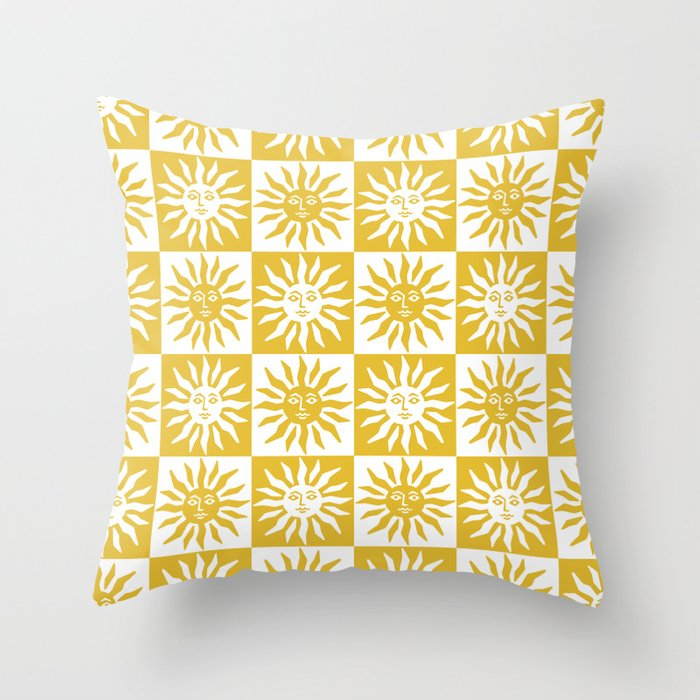 Mid Century Modern Sun Pattern Mustard Yellow Throw Pillow