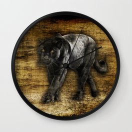 Wild Black Jaguar Wall Clock