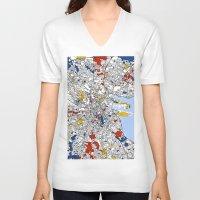 mondrian V-neck T-shirts featuring Dublin mondrian by Mondrian Maps