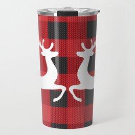 Reindeer's With Cute Red & Black Buffalo Check Christmas/ Buffalo Plaid Travel Mug