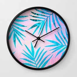 Refreshing Geometric Palm Tree Leaves Tropical Chill Design Wall Clock