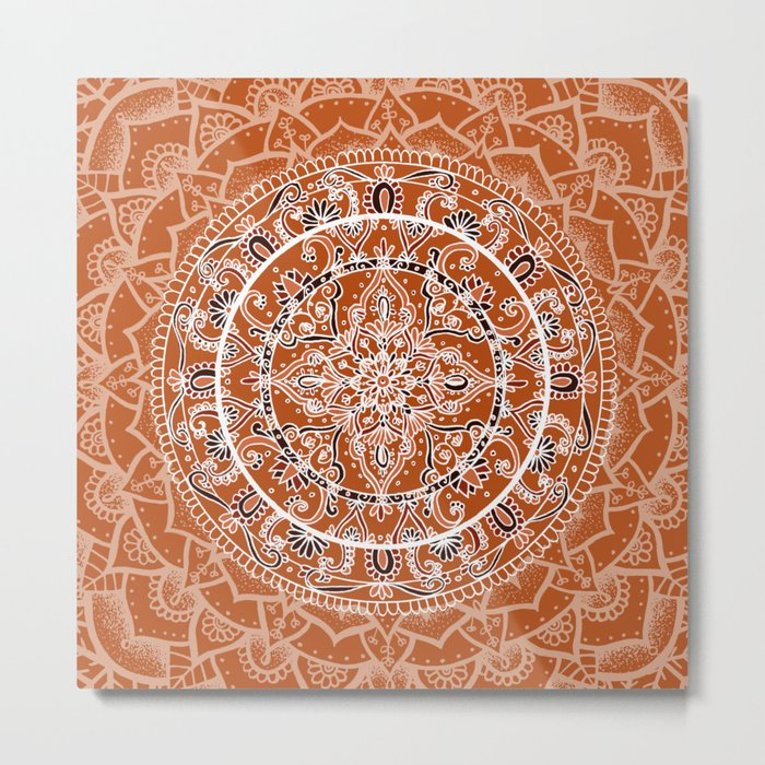 Detailed Burnt Orange Mandala Metal Print