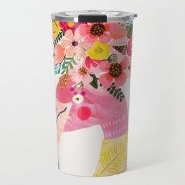 Pink flamingo with flowers on head Travel Mug