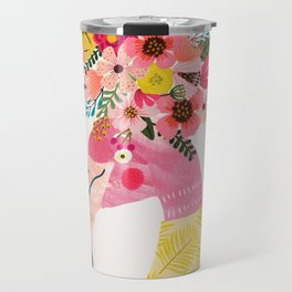 Pink flamingo with flowers on head Travel Mug
