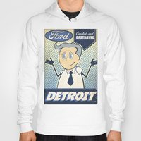 detroit Hoodies featuring Detroit by Sophie Broyd
