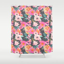 Indy Bloom Design Blush Grey Florals Shower Curtain