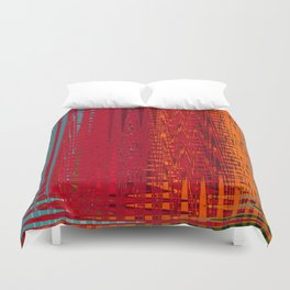 Warm red & turquoise Floor Pattern Art Duvet Cover