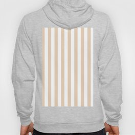 Narrow Vertical Stripes - White and Pastel Brown Hoody