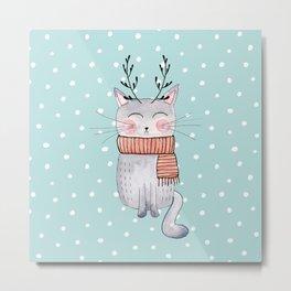 Winter Cat Illustration Metal Print