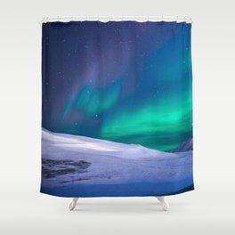 winter sky aurora Shower Curtain