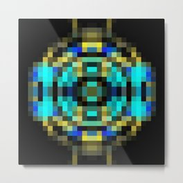 geometric square pixel abstract in blue and yellow with black background Metal Print
