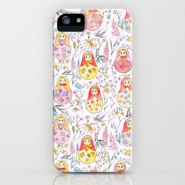 Russian dolls and flowers_ink and watercolor 3 iPhone Case