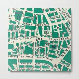 PARIS MAP GREEN Metal Print