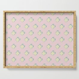Memphis Pattern - Gemetrical Plus Retro Art in Pink and Yellow - Mix & Match Serving Tray