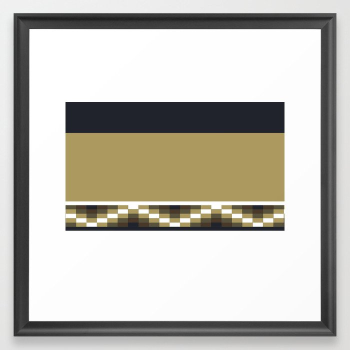 Block Wave Illustration 2 Thick Bold Horizontal Lines Digital Artwork Framed Art Print